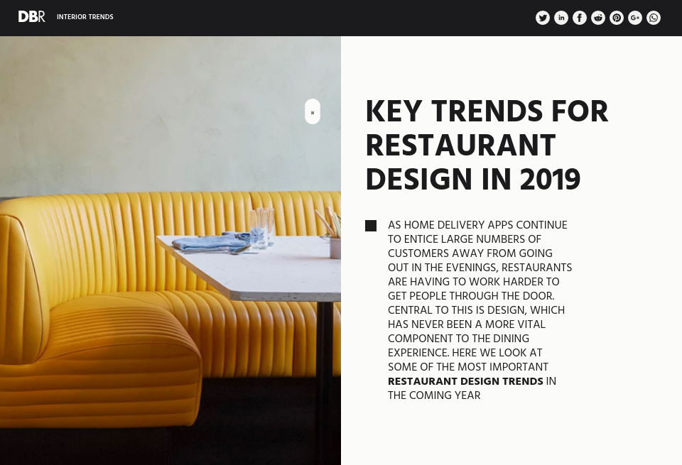 Key Trends for Restaurant Design in 2019 - Design & Build